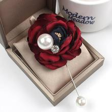 New Handmade Women Muslim Flower Design Brooch Lapel Scarf Pin Suit Stick Brooches Wedding Bridegroom Floral Jewelry Accessories(China)