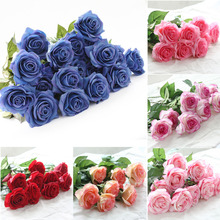 8pcs Touch Real Latex Rose Silk Artificial Flowers Bouquet Bridal Bridesmaid Wedding Bouquet Wedding Party Home Decor(China)