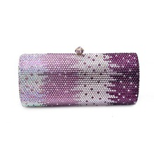 Crystal Evening Bags with Chain Full Side Gradient Ramp Rhinestone Diamonds Clutch Purse Ladies Hand Bags for Party Wedding