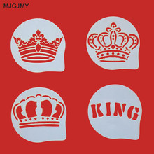 4Pcs/Lots King Crown Figure Cappuccino Coffee Decorating Stencils Cookie Latte Stencil Cake Mold Decor DIY
