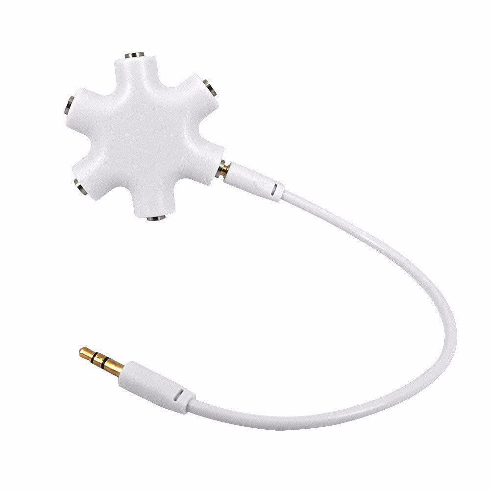 5-Way 3.5mm Stereo Headset Headphone Earphone Extension Audio Hub Splitter Adapter 1 Male to 2 3 4 5 Female Audio Cable(China (Mainland))