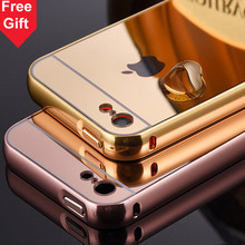 For Apple iPhone 5C iPhone5C Gold Color Matel Frame Mirror Back Plate Luxury Case New Brand Phone Bag Cover