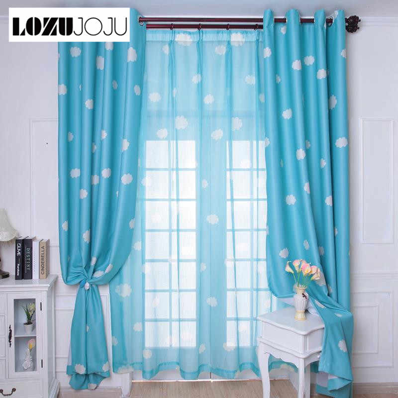 LOZUJOJU New arrival fresh blue sky clouds curtain child real blackout curtains For living room bedroom windows tulle sets