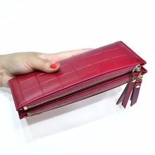Plaid Girls High Capacity Fashion Women Wallets PU Leather Wallet Female Double Zipper Coin Purse Y-138(China)