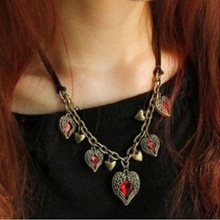 NK177 Hot New Bijoux Vintage Angel Wing LOVE Red Heart Leather Necklace Pendants For Women Chain Jewelry Statement 2017 Gift