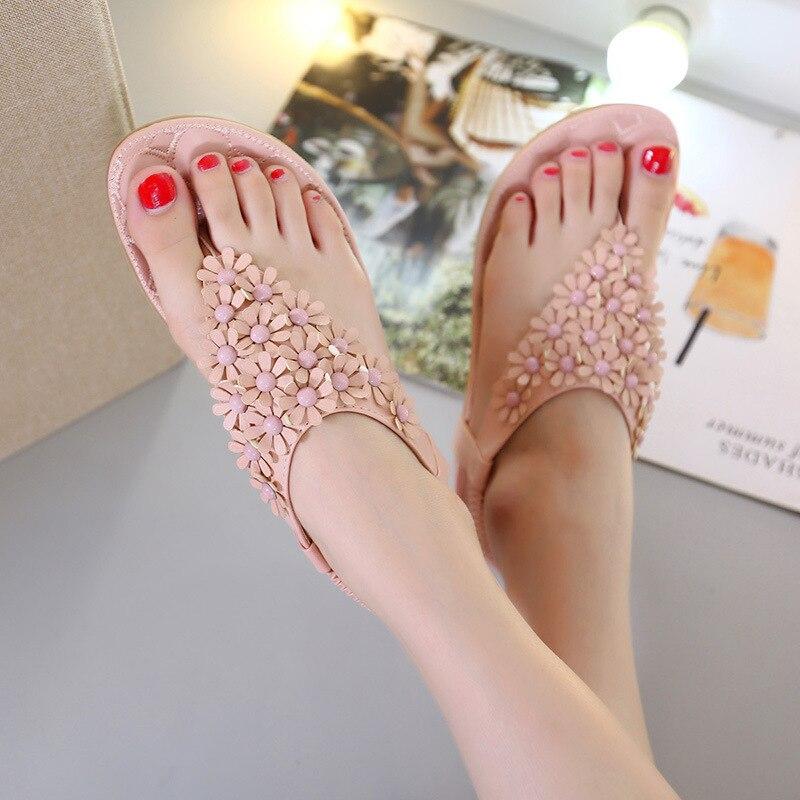 Fashion women Bohemia flower Sandal slippers flower women flats shoes Summer Flip Flops Metal  brand big plus size 35- 41<br><br>Aliexpress
