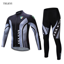 TELEYI Team Pro Long Sleeve Ropa Ciclismo Cycling Jersey Sets Breathable 3D Pad Bib Pants Sports Mountain Bicycle Bike Apparel(China)