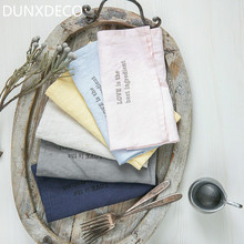 DUNXDECO 1PC 42x33CM Modern Washed Linen Table Placemat Napkin Home Store Party Table Cover Decoration Photo Prop