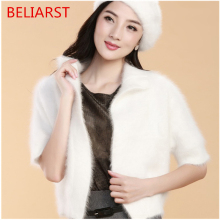 BELIARST  Explosion Models Long-Haired Mink Cashmere Cardigan Sweater Coat Thicker Ms. Fur Shawl Shirt Authentic Free Shipping