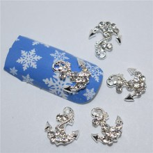 10Pcs new  White diamond anchor, 3D Metal Alloy Nail Art Decoration/Charms/Studs,Nails 3d Jewelry #148