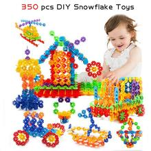 Safe Plastic Blocks Toys 350pcs Snowflake Construction Toy flower Building Blocks Intelligence Exercise Toys For Children R4(China)