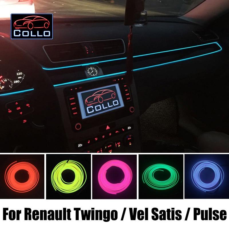 9M EL Wire DIY For Renault Twingo 1 2 3 / Vel Satis / Pulse / Car Interior Romantic Atmosphere Lamp / Decoration Cold Light Line<br>