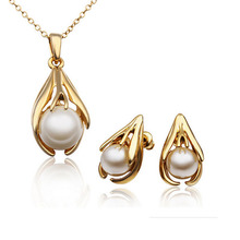 2015 Fashion Pearl Jewelry Sets For Women Imitation Gold Silver Crystal Earrings Necklace Set Wedding Accessories Jewellery(China)