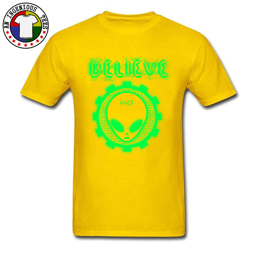 Believe Alien Fact Men Fashionable Tops Tees Crew Neck Summer 100% Cotton Top T-shirts Family Short Sleeve Tops Shirts Believe Alien Fact yellow