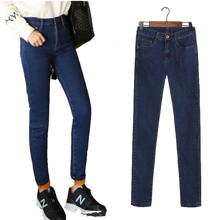 Thicken Jeans Woman plus Size Casual high Waist women jeans skinny Women Denim Pants Black Blue Brand trousers for women F892Îäåæäà è àêñåññóàðû<br><br>