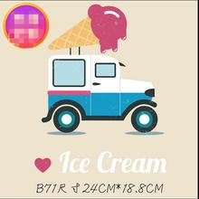 Ice Cream Car T Shirt Pattern Heat Transfer Offset Sweater DIY Clothes Patch Embroidery Stickers patches clothing(China)