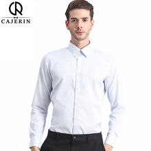 Cajerin 100%Cotton Men's Shirt Fashion Smart Casual Long Sleeve England Style Business Formal Windsor Collar White Shirt(China)