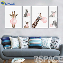 7-Space Kawaii Animal Bubbles Horse Giraffe Dog Canvas Painting Wall Art Print Poster Nursery Wall Pictures For Kids Room Decor(China)