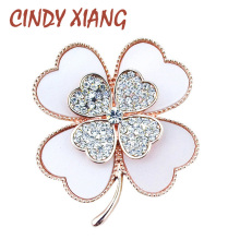 CINDY XIANG Rhinestone Clover Brooches for Women Plant Pins and Brooches 2017 Summer Series Broches Wedding Jewelry Accessories