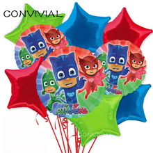 18inch PJ Masks Birthday Party Foil Balloons Baby Shower Birthday Party Decorations Kids Toy PJ Mask Globos Party Supplies PA94(China)