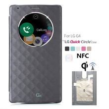 QI Wireless Charger Receiver Case for LG G4 Quick Circle Flip PU Leather Plastic Case for LG G4 H811 H815 Smart Cover + NFC Chip