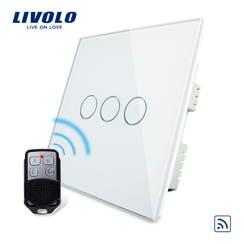 Livolo UK standard Switch, AC 220-250 VL-C303R-61&amp;VL-RMT-02, White Crystal Glass Panel,Wireless Remote Touch Switch With Remote<br>