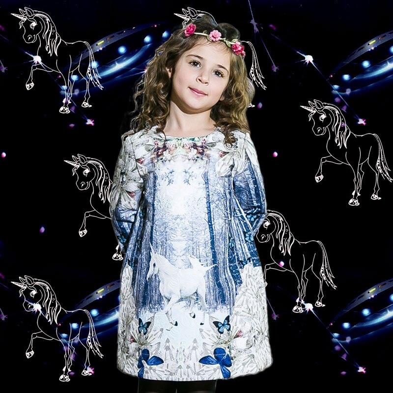 2016 kids princess dresses winter girl dress for party Unicorn Print Children Autumn girls dresses for party children christmas <br><br>Aliexpress