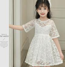 2017 Newest Summer Sweet Baby Girls Dress Performance Kids Clothes Short Sleeve Lace Princess Dresses  Kinderkleding meisjes