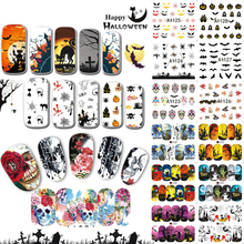 48pcs/sets Halloween Decal Water Transfer Full Tip Skull Cat Cartoon DIY Beauty Nail Art Decoration Stickers TRA1081-1128