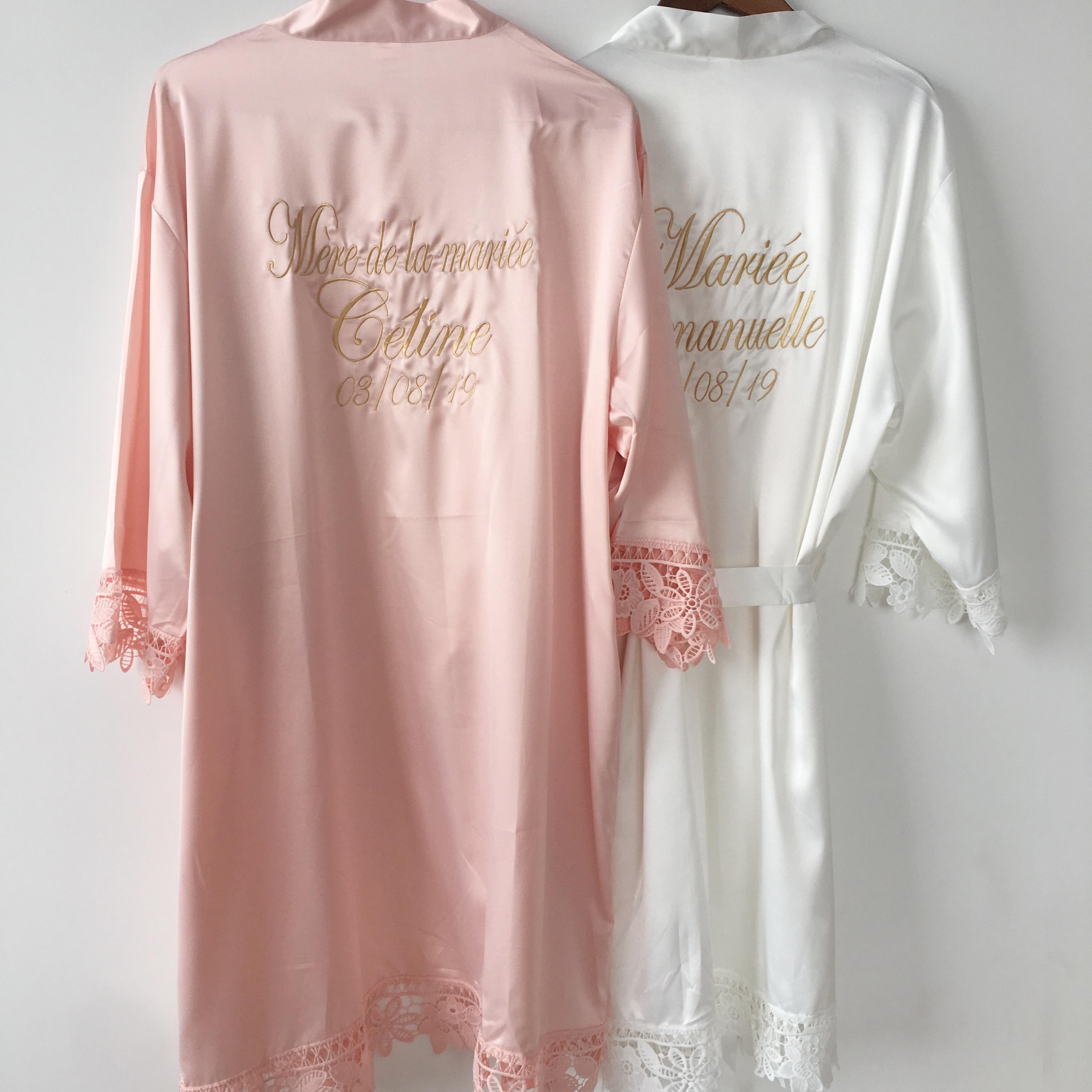 CORAL Satin Monogrammed Robe Bridal Robe Bridesmaid Gift Set Of 6 Lot