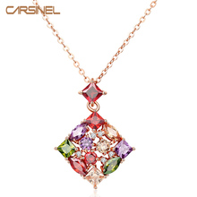 CARSINEL Fashion Colorful Square Cubic Zircon Stone Necklaces & Pendants Gold-color Gifts Women Bride Wedding Jewelry NE0104