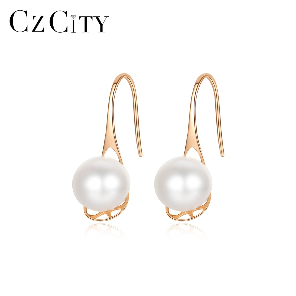 CZCITY Fashion 6-7mm Round Ball Natural Freshwater Pearl Drop Earrings For Women Hollow Design 18K Yellow Gold Wedding Jewelry