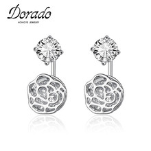 Dorado New Fine Hollow Out Float Cubic Zirconia Rose Flower Shaped Double Side Earring Stud With Gift Box