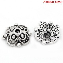 Doreen Box Lovely Bead Caps Flower Antique Silver(Fits 12mm-14mm Beads) 10x10mm,Hole:Approx 1.3mm,100PCs (B25971)