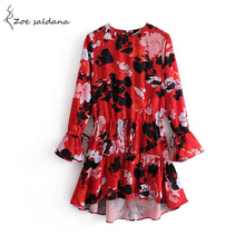 Zoe Saldana 2018 Women Red Floral Print Cute Dresses Lace-up Long Sleeve Elegant Lady Casual Vestidos(China)