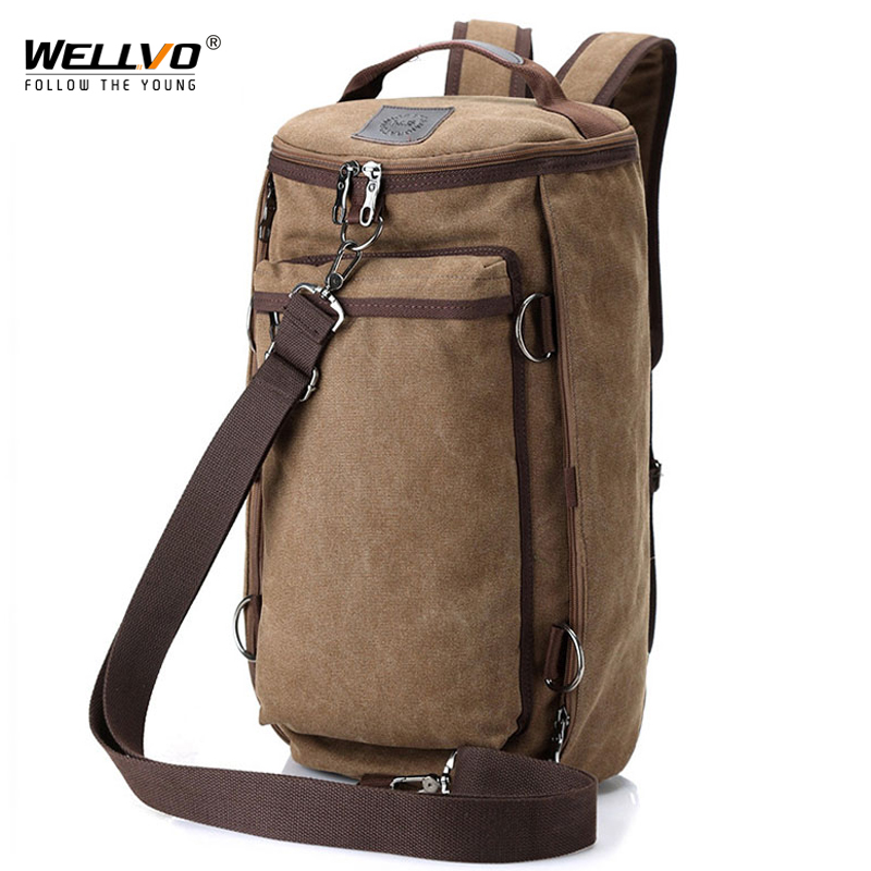 Wellvo Men Huge Luggage Travel Bag Army Bucket Backpack Multifunctional Military Canvas Backpacks Large Shoulder Bags Pack XA32C<br>
