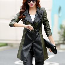 lager size women clothing Free shopping sheepskin long section of Korean Slim windbreaker jacket / M-5XL