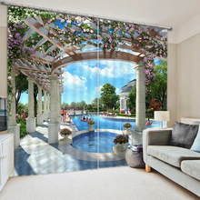 Customize Modern 3D Photo park pool Curtains Blackout 3D Bedroom Living room Curtains Hoots 3D Curtains