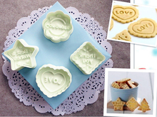 4pcs/Set Holiday Cookie Cutter Plunger Round Flower Heart and Star Shape Plastic Biscuit Mold Fondant Cake Baking Set GH016(China)