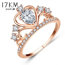 17KM Wedding Jewelry Finger Crystal Heart Crown Rings For Women New Lover Cubic Zirconia Ring Female Engagement Party Wholesale(China)