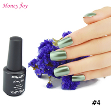 Honey Joy 1pc Bright Khaki Metallic Effect Soak Off Nail Polish Metal Lacquer 8ml Long Lasting Nail Art Top Manicure Tools(China)
