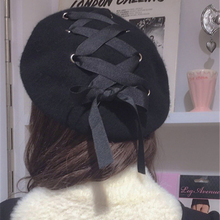 HT838 New Bowknot Wool Beret Hats Korean Style Women Winter Hats Beret Solid Blue Black Fashion Painter Hats Stylish Hats Female(China)