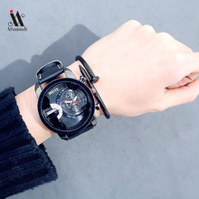 Watches Men Leather Strap Quartz Wristwatch Retro Design PU Leather Analog Alloy Quartz Wrist Watch Clock waterprooof watch(China)
