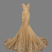 ZGS268 Gold Sequins Prom Dresses Luxury Mermaid Evening Gowns Sweetheart robe de soiree Gold Mermaid Long Evening Dresses 2016(China)