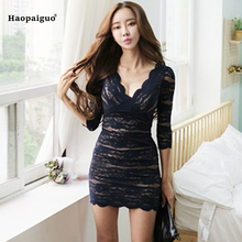 Buy 2018 Summer Party Sexy Dress Women Office Bandage Bodycon Dresses Elegant Deep V-Neck Slim Lace Mini Dress Vintage Vestidos for $29.20 in AliExpress store