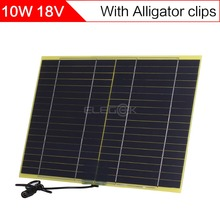 ELEGEEK 10W 18V DIY Solar Cell Panel with DC Output + Crocodile Clip 318*210mm Mini Solar Panel for DIY Test and Solar System