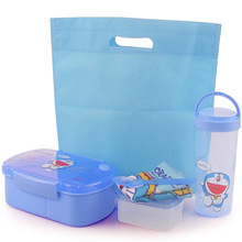 Hello Kitty & Doraemon Food Container Kids Food Container Microwave Bento Box Dinnerware Set+Stroage Box+Water Bottle+Lunch Bag