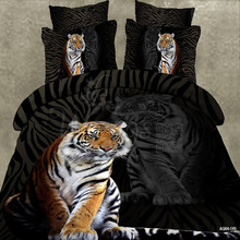 Wongs Bedding Brand 3D Cartoon Bedding Sets Tiger Animal Duvet Cover Black Bedlinen Bedclothes Double Queen King Size 3/4PCS