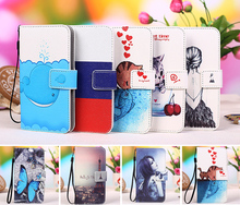 New Cartoon printed universal flip pu leather Wallet phone case for ZTE Grand X 4 covers Fundas + Lanyard Gift + Tracking