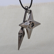 Ninja Cosplay Anime Jewelry Wholesale Naruto Necklace Kunai Shuriken Dart Weapon Konoha Logo Uzumaki Naruto Leather Rope Chain